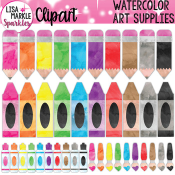 Watercolor Rainbow Pencil Crayon Marker Paint Brush Art Supplies Clipart