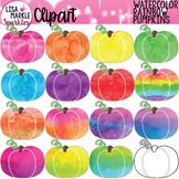 Watercolor Rainbow Pumpkins Clipart for Fall and Halloween