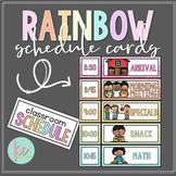 Watercolor Rainbow Schedule Cards (Editable)