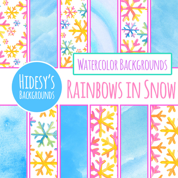 Watercolor Rainbow Snow Backgrounds / Digital Papers Clip Art Set