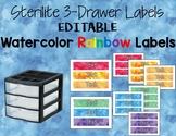 Watercolor Rainbow Text Editable Sterilite 3-Drawer Labels