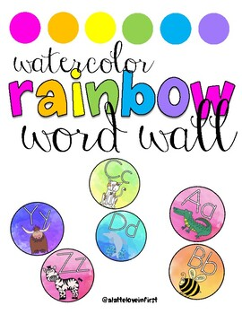Watercolor Rainbow WORD WALL Alphabet