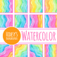 Watercolor Rainbow Waves / Wavey Lines Digital Papers / Backgrounds