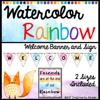 Watercolor Rainbow Welcome Banner