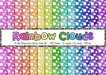 Watercolor Rainbow + White Doodle Clouds Digital Paper Set