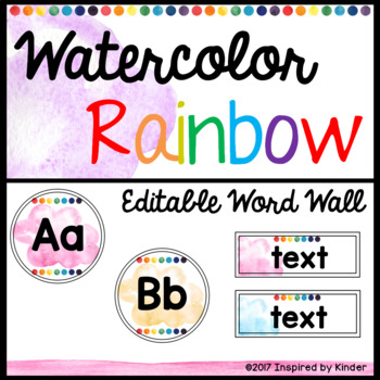 Watercolor Rainbow Word Wall {EDITABLE}