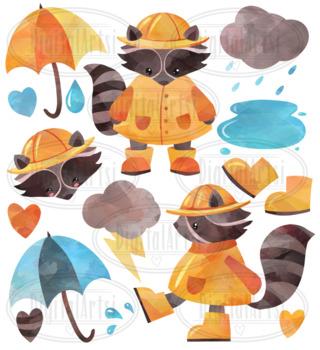 Watercolor Rainy Day Raccoon Clipart