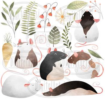 Watercolor Rats Clipart