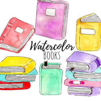 Watercolor Reading Books Clip Art Set