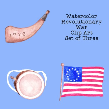 Watercolor Revolutionary War Clip Art PNG JPG Commercial or Personal