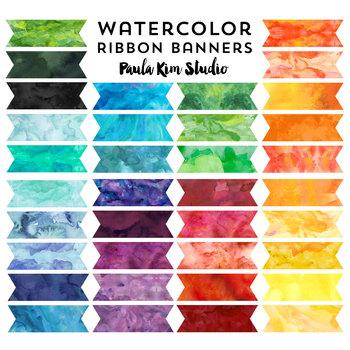 Watercolor Ribbon Banner Clip Art
