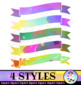 Watercolor Ribbon Banners Clip Art Designs
