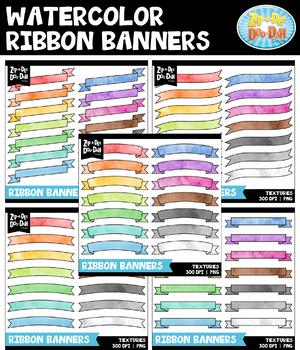 Watercolor Ribbon Banners Clipart Mega Bundle {Zip-A-Dee-Doo-Dah Designs}