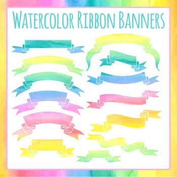 Watercolor Ribbon Banners or Headers Commercial Use Clip Art Set