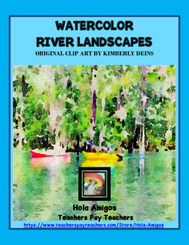 Watercolor River Landscapes Clip Art