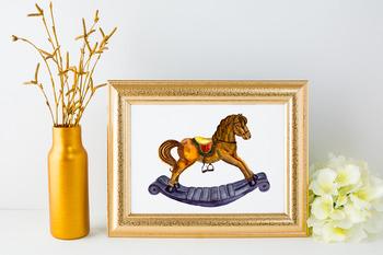 Watercolor Rocking Horse Clip Art + Print
