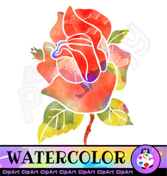 Watercolor Rose Floral Clip Art