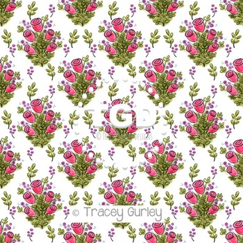 Watercolor Rose Pattern on White digital paper Printable Tracey Gurley Designs