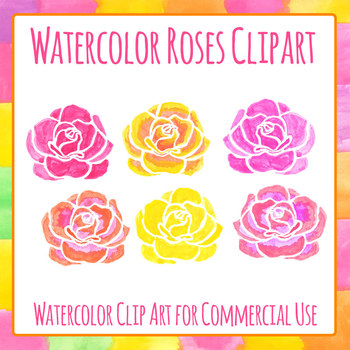 Watercolor Roses - Handpainted Flower Clip Art Set for Commercial Use