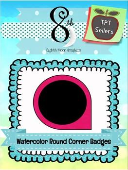 Watercolor Round Corner Badges Black Fill
