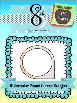 Watercolor Round Corner Badges White Fill