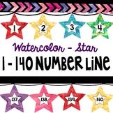 Watercolor STAR number line 1 - 140