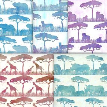 Watercolor Safari Animals Digital Paper, 10 Printable Jungle Animal Patterns