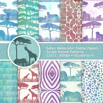 photograph regarding Printable Watercolor Paper named Watercolor Safari Pets Electronic Paper, 10 by way of