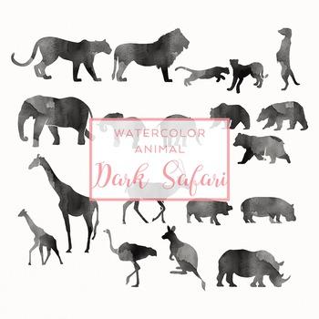 Watercolor Safari Animals Silhouettes Clip Art - Dark