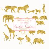 Watercolor Safari Animals Silhouettes Clip Art - Gold