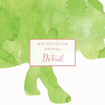 Watercolor Safari Animals Silhouettes Clip Art - Green