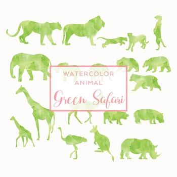 Watercolor Safari Animals Silhouettes Clip Art - Green