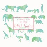 Watercolor Safari Animals Silhouettes Clip Art - Mint