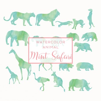 Watercolor Safari Animals Silhouettes Clip Art - Mint
