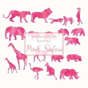 Watercolor Safari Animals Silhouettes Clip Art - Pink