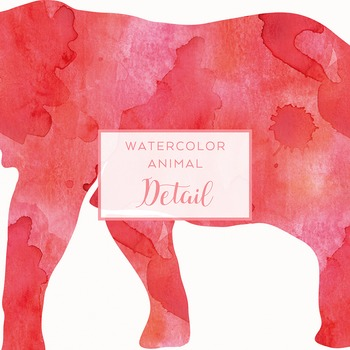 Watercolor Safari Animals Silhouettes Clip Art - Red