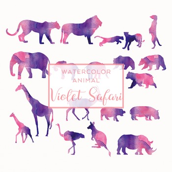 Watercolor Safari Animals Silhouettes Clip Art - Violet