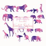 Watercolor Safari Animals Silhouettes Clip Art - Violet