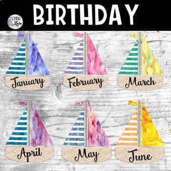 Watercolor Sailboat Birthday Display