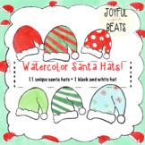 Watercolor Santa hat clipart