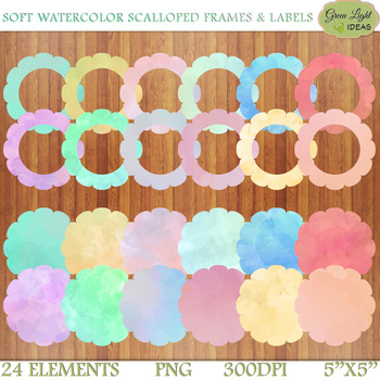 Watercolor Scalloped Frames And Labels Clip Art / Frames Clipart / Circle Labels