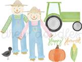 Watercolor Scarecrow Digital Clip Art Set