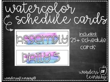 Watercolor Schedule Cards