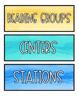 Watercolor Schedule Cards EDITABLE