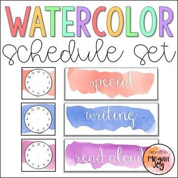 Watercolor Schedule Cards - Editable