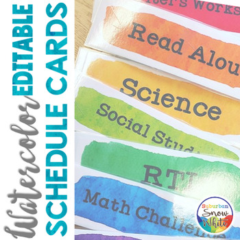 Back to School Watercolor Daily Schedule Cards Signs EDITABLE