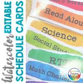 Watercolor Classroom Decor Editable Daily Schedule Cards