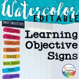 Watercolor Learning Objectives Goals Signs EDITABLE ~ Back