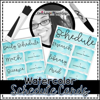 Watercolor Schedule Cards | Teal | Time is Editable