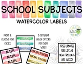 School Subjects/Schedule Cards Watercolor Labels